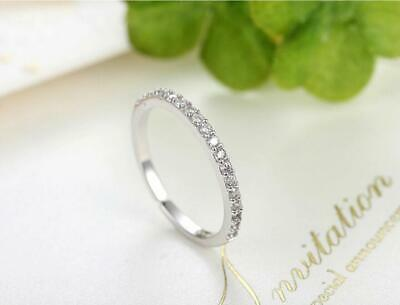 Pave Cubic Zirconia 925 Sterling Silver Thin Engagement Party Band Ring RS65
