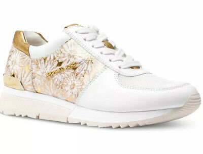 New Michael Kors Allie Trainer Sneakers leather optic white lace up floral gold