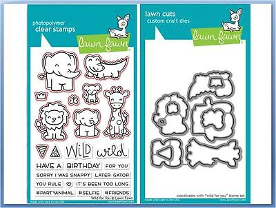 Lawn Fawn Photopolymer Clear Stamp & Die Combo ~ WILD FOR YOU ~LF1413, LF1414
