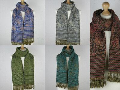 Großer Schal (Eleganter großer Damen Schal Stola XXL Hals-Tuch Blumen Paisley Luxus Muster)