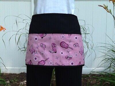 Black 3 Pockets Pink Western Waitress Waist Half Apron Server Restaurants