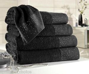 LUXURY DIAMANTE DETAIL EGYPTIAN TOWELS 600 GSM, 100% PREMIUM COTTON