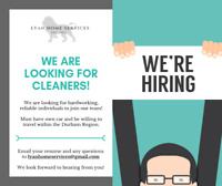 Cleaning company looking for part time help.