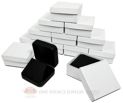 12 Piece Black Leather Earring Jewelry Gift Box 2 34 X 2 34 X 1 18