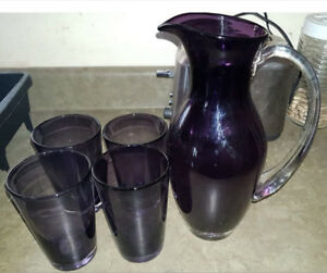 Purple Drinking Pitcher and Matching Glasses