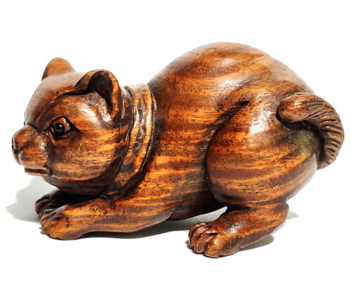"""Y6985 - 20 Years OLD 2"""" Hand Carved Ebony Ironwood Netsuke - Cat"""