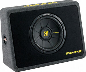 "Kicker Thin Profile 10"" CompS Sub and Vented Subwoofer Box F-150"