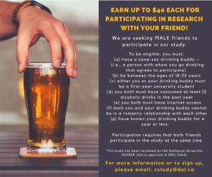 Seeking Male Friends Who Drink Alcohol for Research Study!