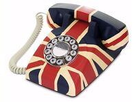 UNION JACK RETRO GPO TELEPHONE DESIGNER PUSH BUTTON BRAND NEW IN BOX