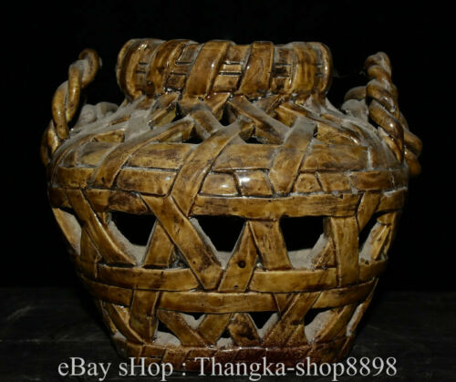 """8"""" Old Chinese WuCai Porcelain Pottery Hollow Out Portable Basket Crate"""