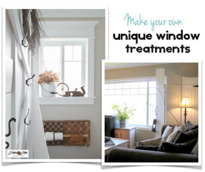 5 beautifully unique window treatments you can make yourself / Vintage woodwork, old gate screens, shutters, burlap shad