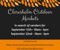 Vendors for Claresholm Outdoor Markets