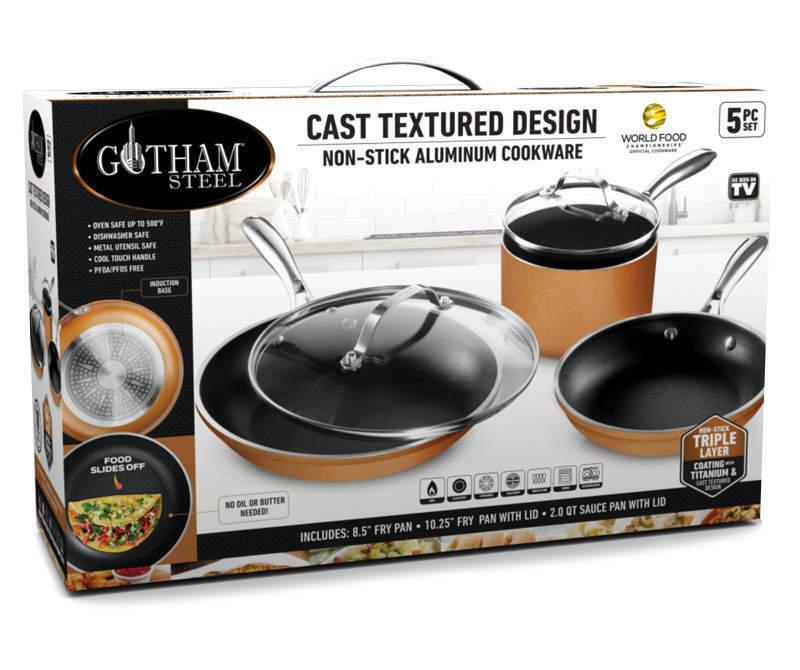 Gotham Steel Nonstick Aluminum 5-Piece Cookware Set