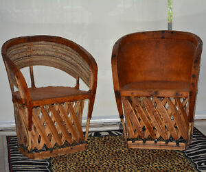 Vintage hand crafted rawhide and wood chairs