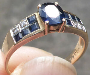 yellow gold blue sapphire and diamond ring
