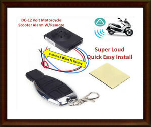 DC 12 Volt Motorcycle/Scooter Anti Theft Alarm W/Remote (Chwk)