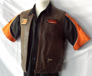 Veste Moto Harley cuir brun antique, Homme Medium, 65$