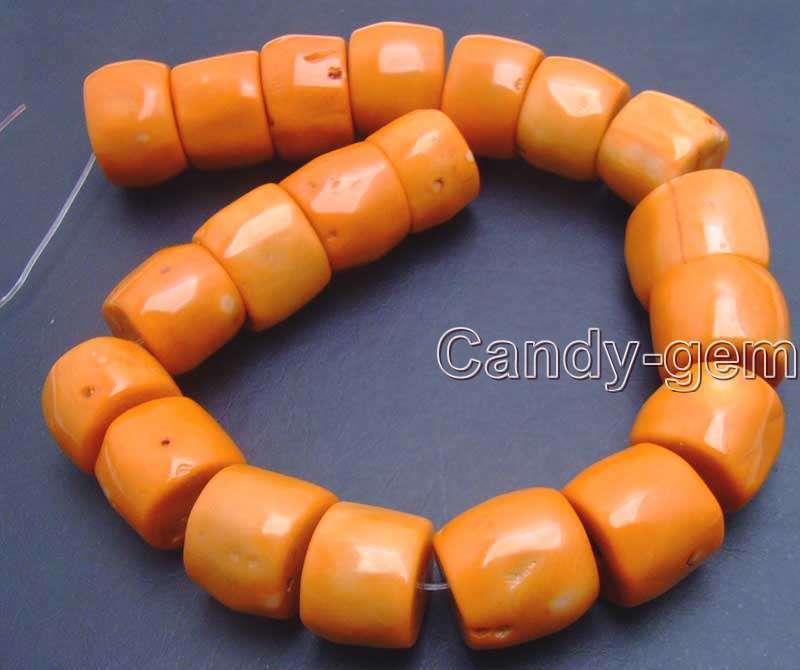 "20-30mm Natural Orange Column Knurl Coral Bead for Jewelry Making DIY Strand 15"""