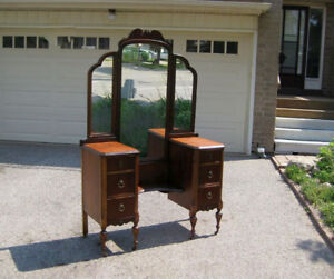 Gorgeous Antique Black Walnut Vanity / Make-up Dresser, Mirror