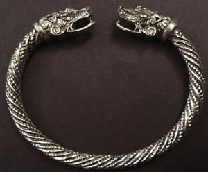 Adjustable Norse Viking Wolf Head Silver Open Bracelet Dragon Fenrir Bangle F2
