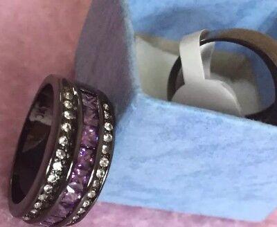 Women's Amethyst Band Sz 7 Titanium Ring 8MM Wedding Anniversary Ring New