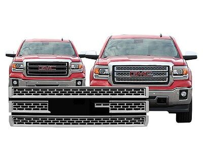 Chrome Grille Overlay. Compatible with 2014 2015 GMC Sierra BASE / SLT / SLE
