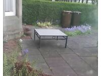 Slate wrought iron garden coffee table