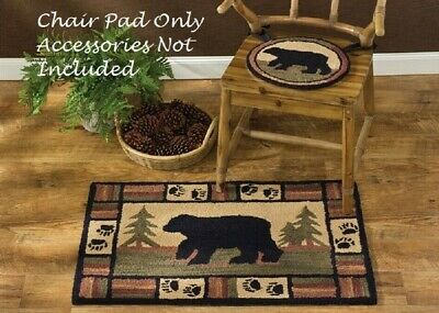 Hooked Rustic Rug - Primitive BLACK BEAR Hooked Rug Chair Pad Seat Cushion Farmhouse Cabin Rustic