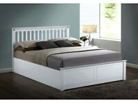 BRAND NEW DOUBLE SIZE OR KING SIZE WOODEN OTTOMAN GAS LIFT STORAGE BED IN WHITE OR PINE OAK WOOD
