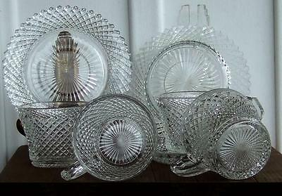 (LOT) 4 Westmoreland English Hobnail Cup & 3 Anchor Hocking Miss America Saucer