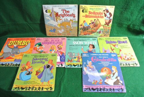 Vintage Lot of 8 Walt Disney Children's Records (45 RPM) Dumbo Snow white