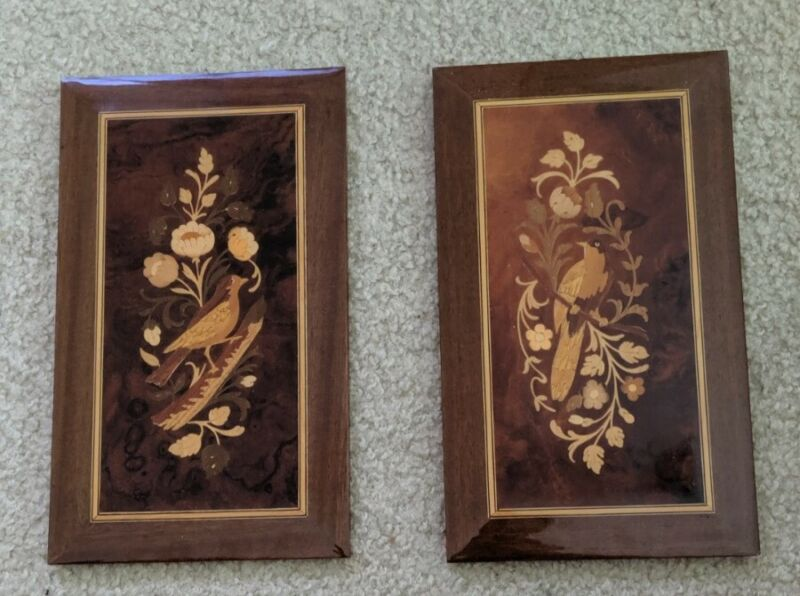 2 INLAID WOOD WORK BIRDS Wall Picture MADE IN ITALY