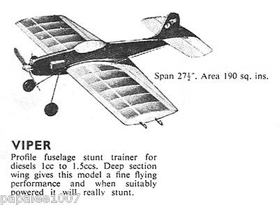 "Model Airplane Plans (UC): Mercury Viper 27½"" for .06-.09ci (1-1.5cc) Engine"
