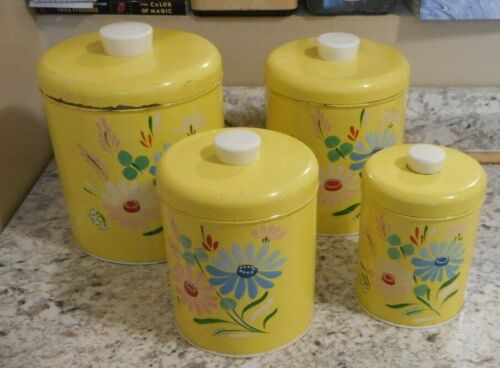 Ransburg Genuine Handpainted Yellow Flowers Floral Metal Canister Set