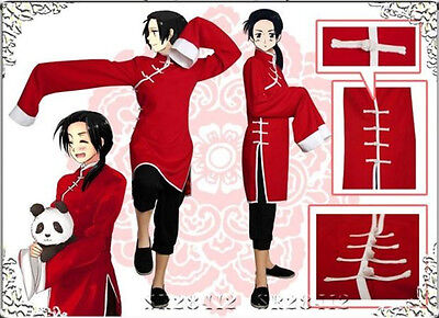 APH Axis Powers Hetalia China Wang Yao Chinese Cheongsam Cosplay Red Costume