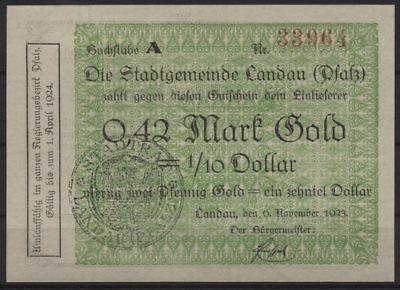 [20323] - GOLD-NOTGELD LANDAU (PFALZ), Stadt, 0,42 Goldmark, 06.11.1923, Müller