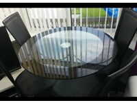 Glass black table and chairs