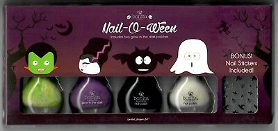 Halloween Nail Polish Set (BONITA 5pc Polish Color NAIL-O-WEEN Sticker Set HALLOWEEN Glow In The Dark)