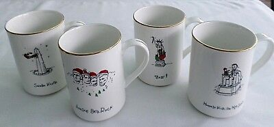 4 Piece Set Of Merry Masterpieces, Porcelain Christmas Cups / Mugs. Dayton Hudso