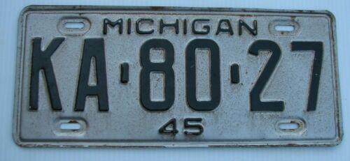 """1945 MICHIGAN AUTO  LICENSE PLATE """" KA 80 27 """" MI 45   ALL ORIGINAL CONDITION"""