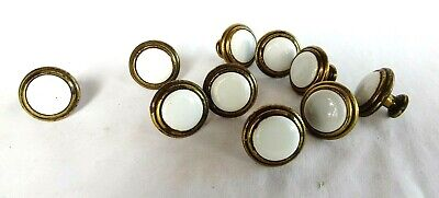 Lot Of 10 Ten Brass and Porcelain Knobs Cabinet Door Drawer Pull Vintage