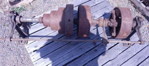 Antique/Vintage Line Shaft with Clutch & Cone/Flat Pulleys