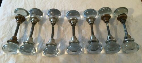 7 SETS OF VINTAGE CRYSTAL DOOR KNOBS WITH STEMS