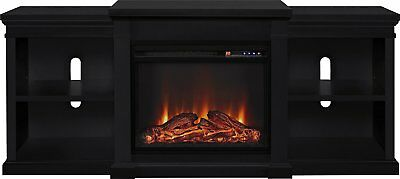 Electric Fireplace TV Stand Black Living Room Console Storage Shelf 65in Modern