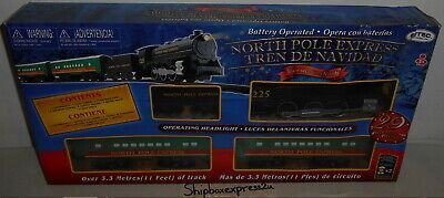 NEW 29 PC NORTH POLE EXPRESS CHRISTMAS TRAIN BATTERY OPERATED SET EZTEC