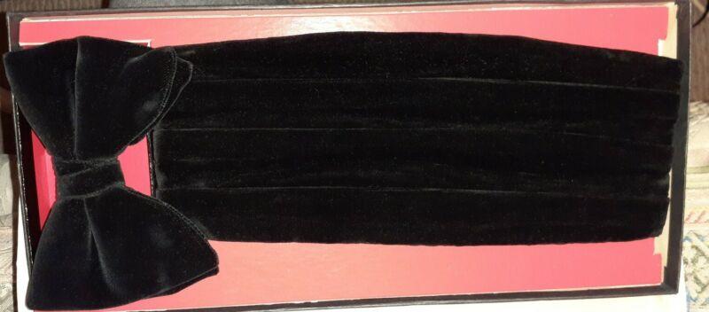 Velvet BLACK Big bow tie & cummerbund set Vintage Boxed Teardrop BOW TIE.