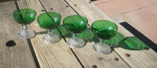 Vintage Green Dessert Stemware Glass Hob Nail Base Lot of 4