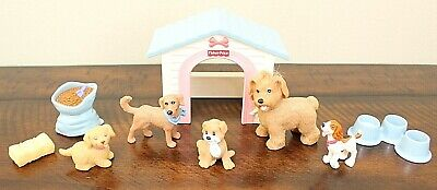 Fisher Price LOVING FAMILY PET PUPPY LOT + DOG HOUSE Food