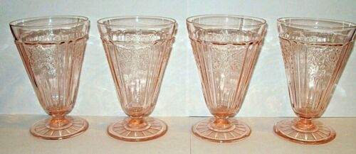 4 Anchor Hocking Mayfair Pink Footed Tumblers * Depression Glass