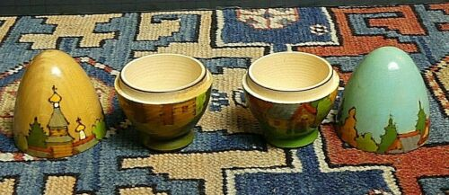 2 Vintage Hand Turned Wooden Hollow Polychrome Painted-Incised Russian Eggs